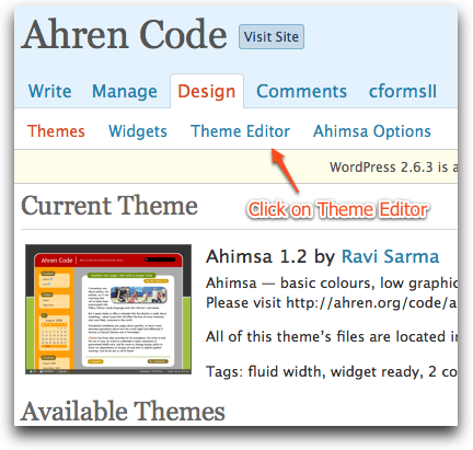 Choose Design in WP Admin Page